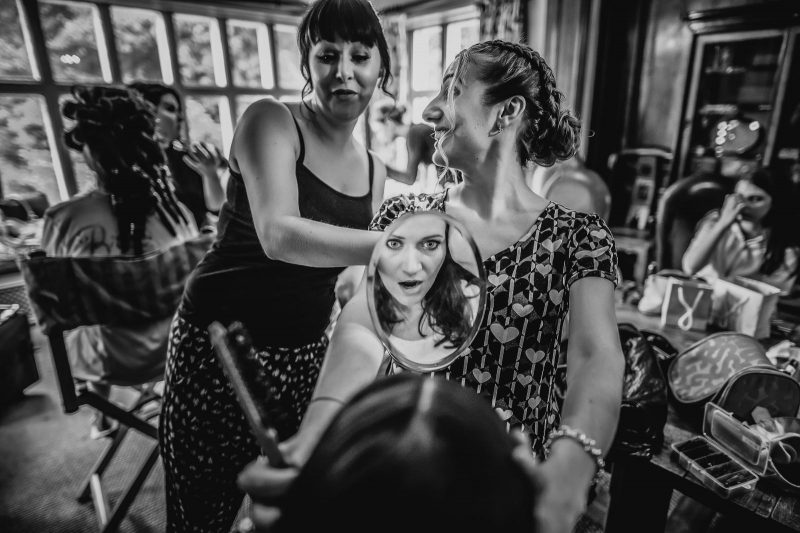 bridal prep image by Pete Farrell of Pixies in the cellar